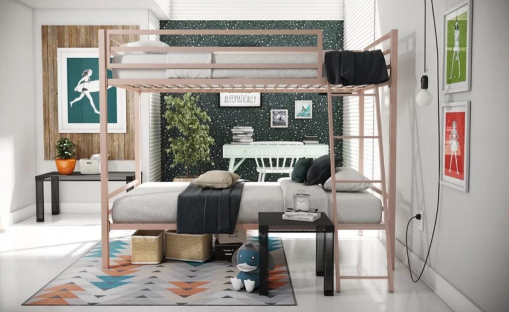 Pink Metal bunk beds at Wayfair