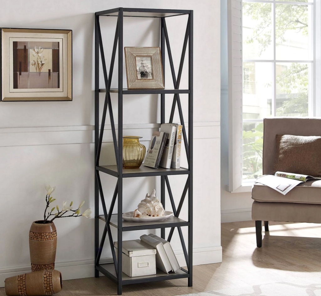 Saracina Home 61_ Metal Wood Bookcase