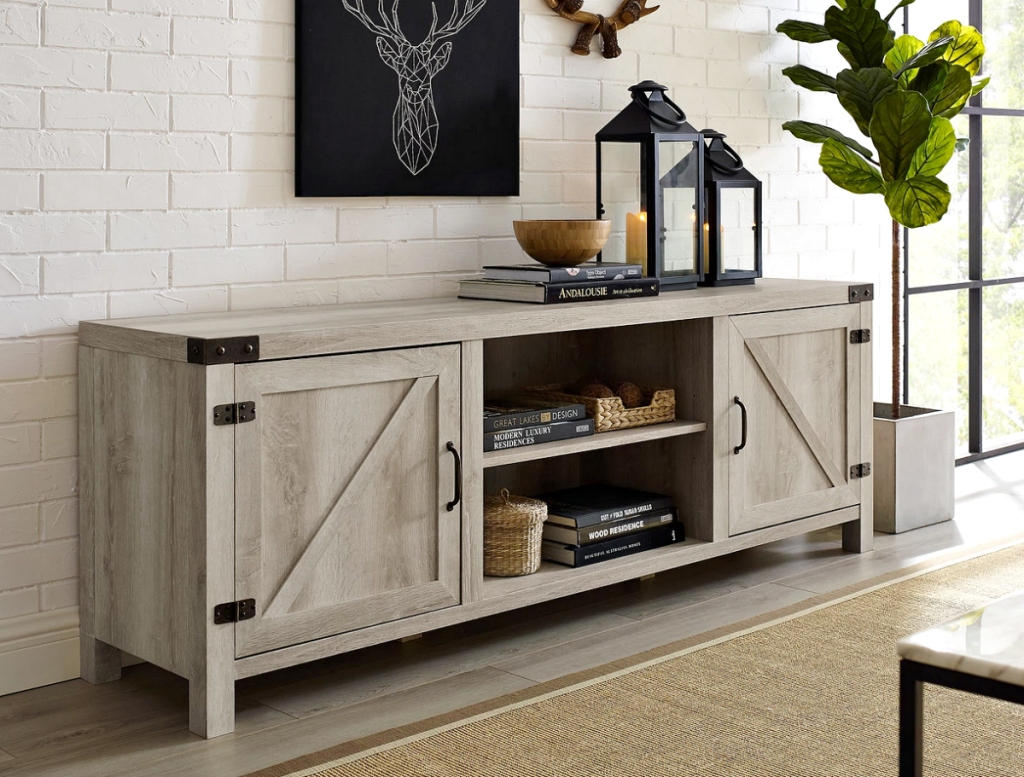 Saracina Home Modern Farmhouse Barn Door TV Stand