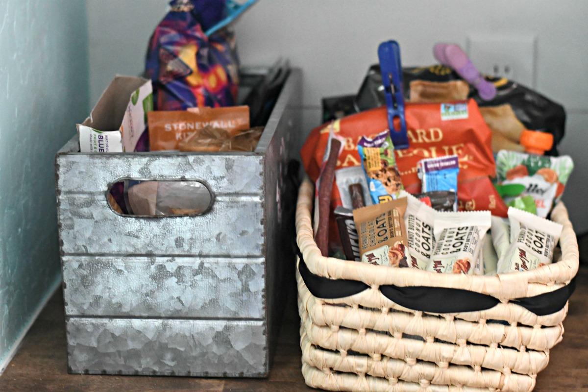 baskets to organize kitchen pantry snacks