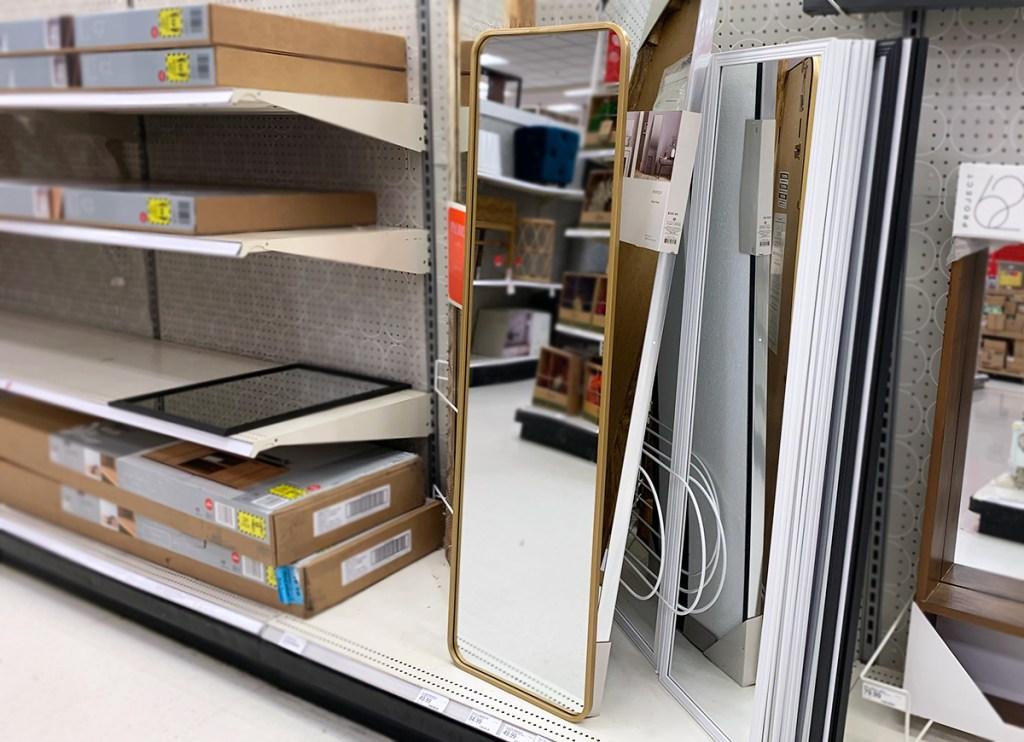 over the door full length brass frame mirror