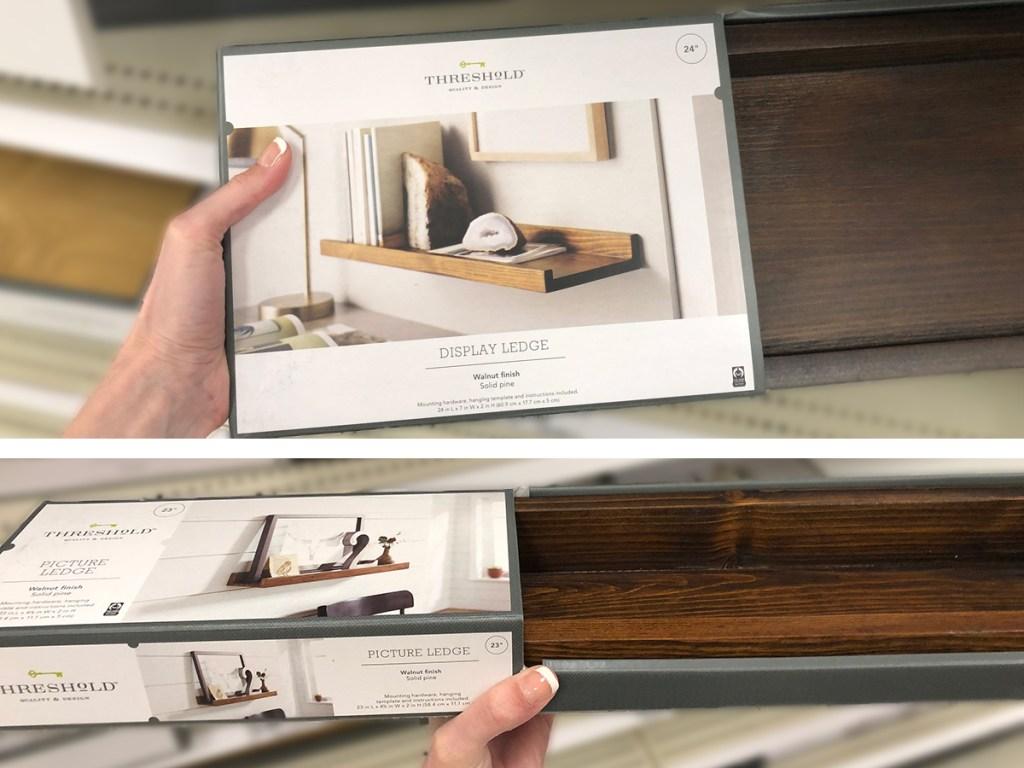 target wall decor — floating wall shelf walnut