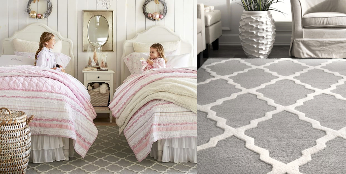 pottery barn kids copycat looks for significantly less!two girls in white beds with gray area rug next to another photo of a gray