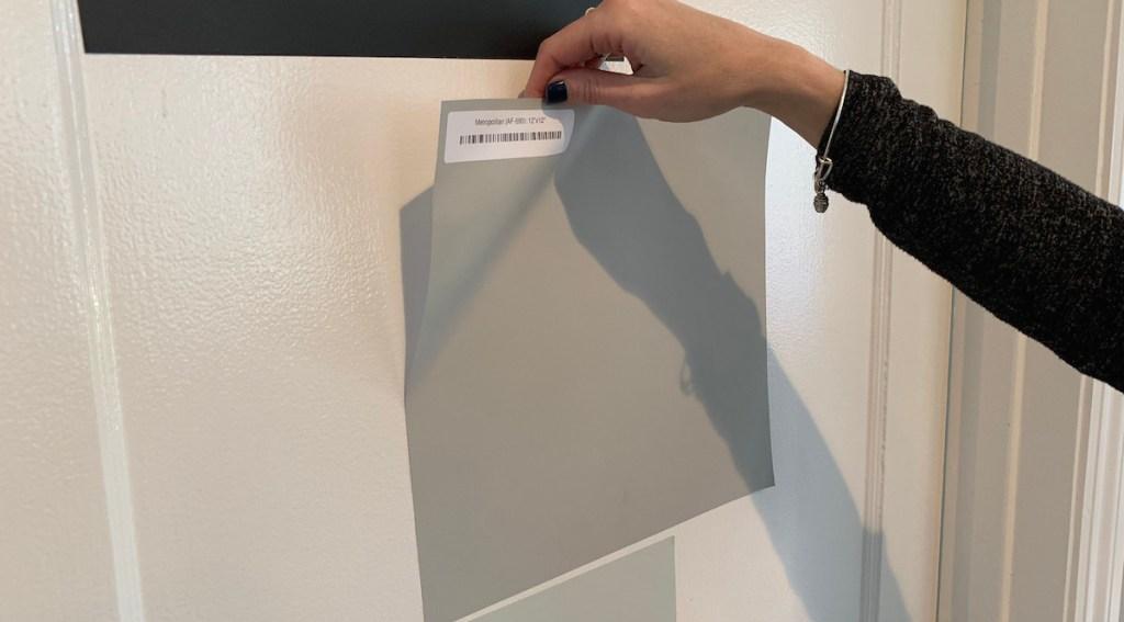 metropolitan paint sample on a white door
