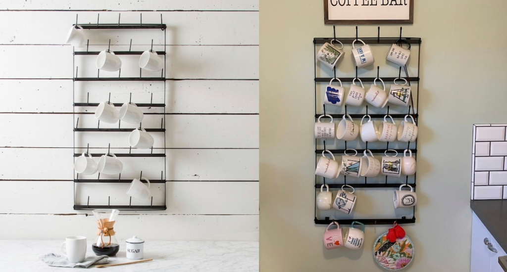 two iron metal mug racks side by side with assorted white coffee mugs on wall