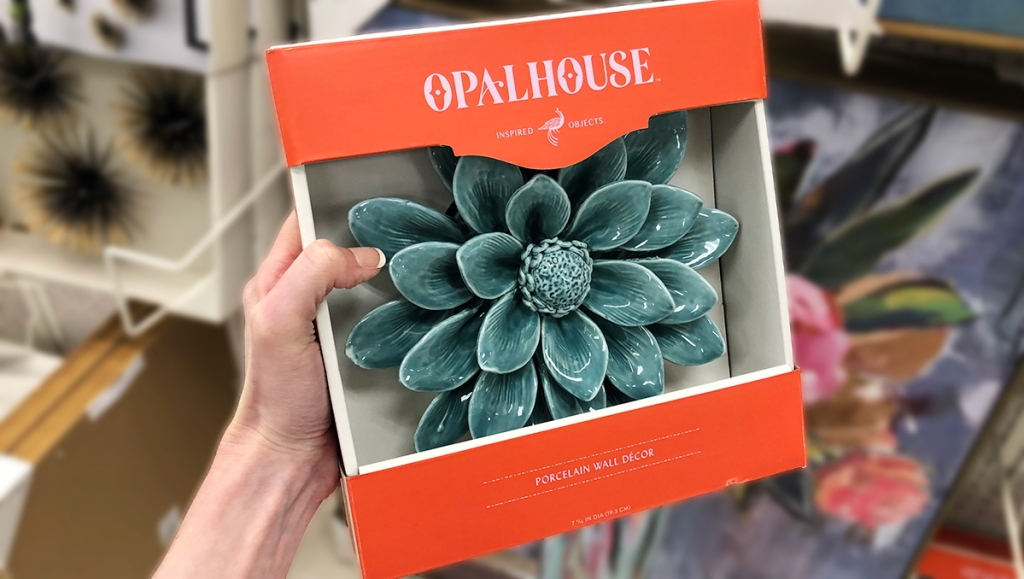 target wall decor — opalhouse teal porcelain flower wall accent