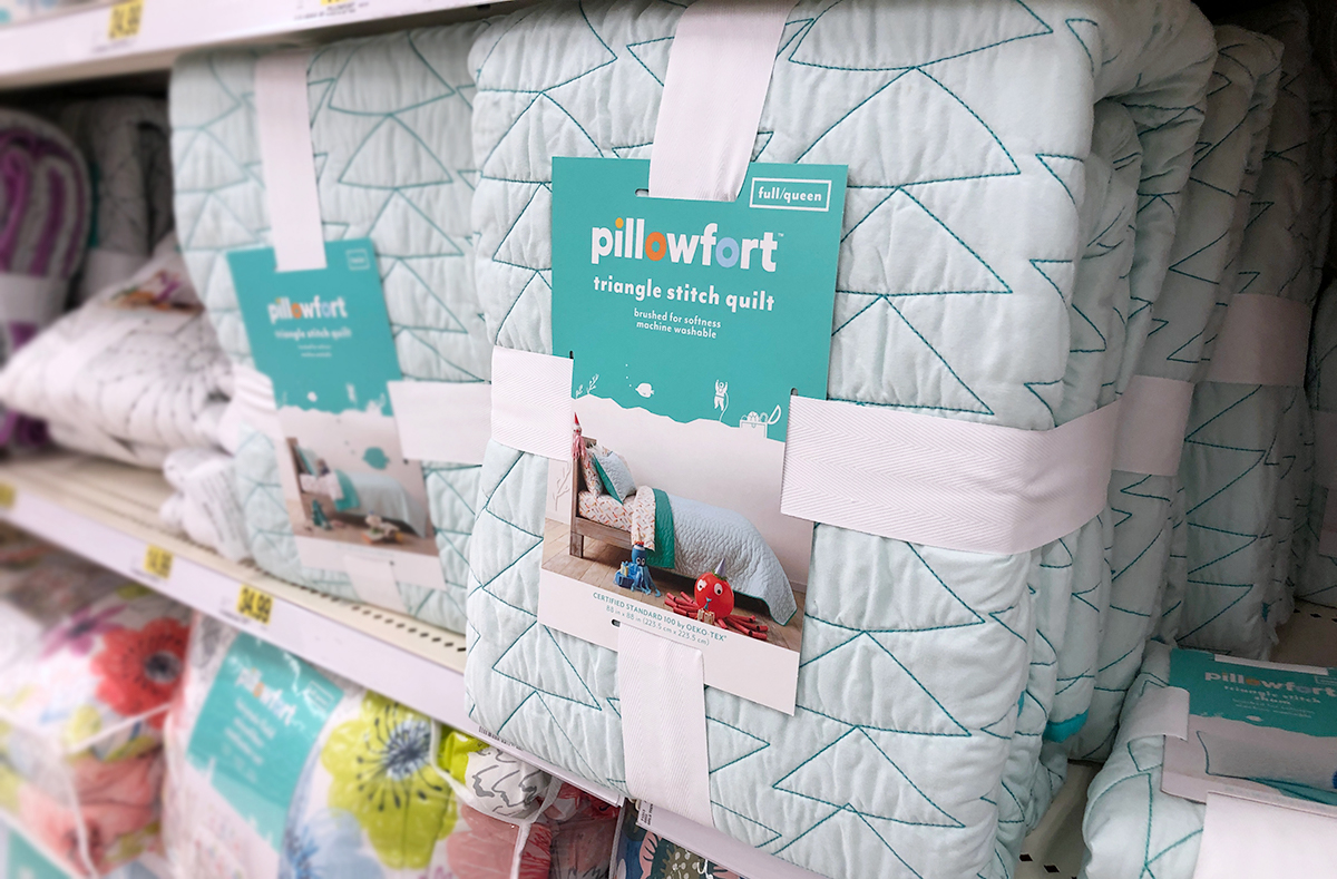 grown up Pillowfort items — triangle pattern teal quilt