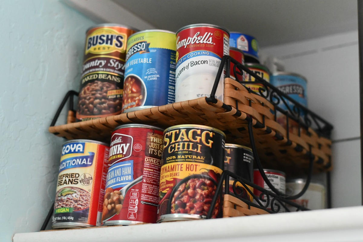 organizing cans using an office filing shelf