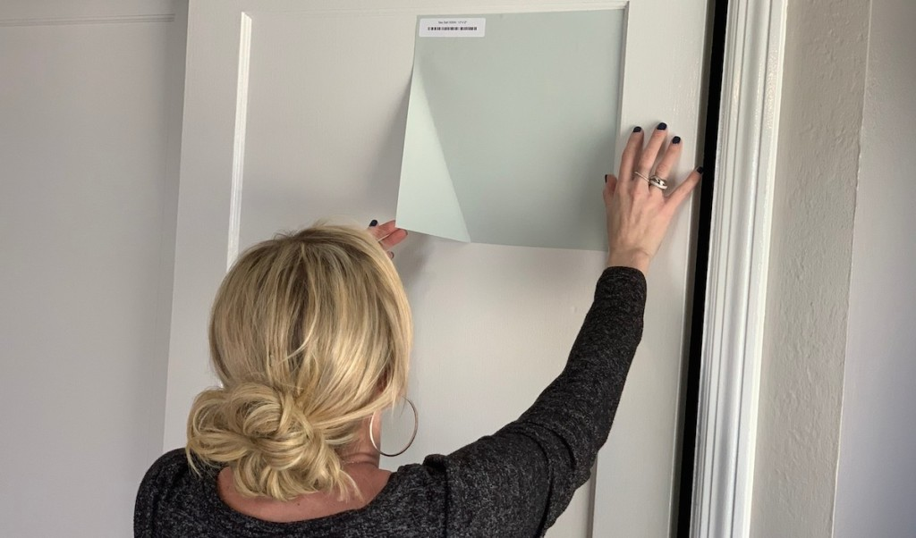 collin facing white door peeling off blue gray paint sample