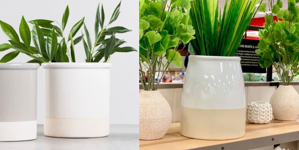 stock photo of white vase next to ceramic vases in store on shelf