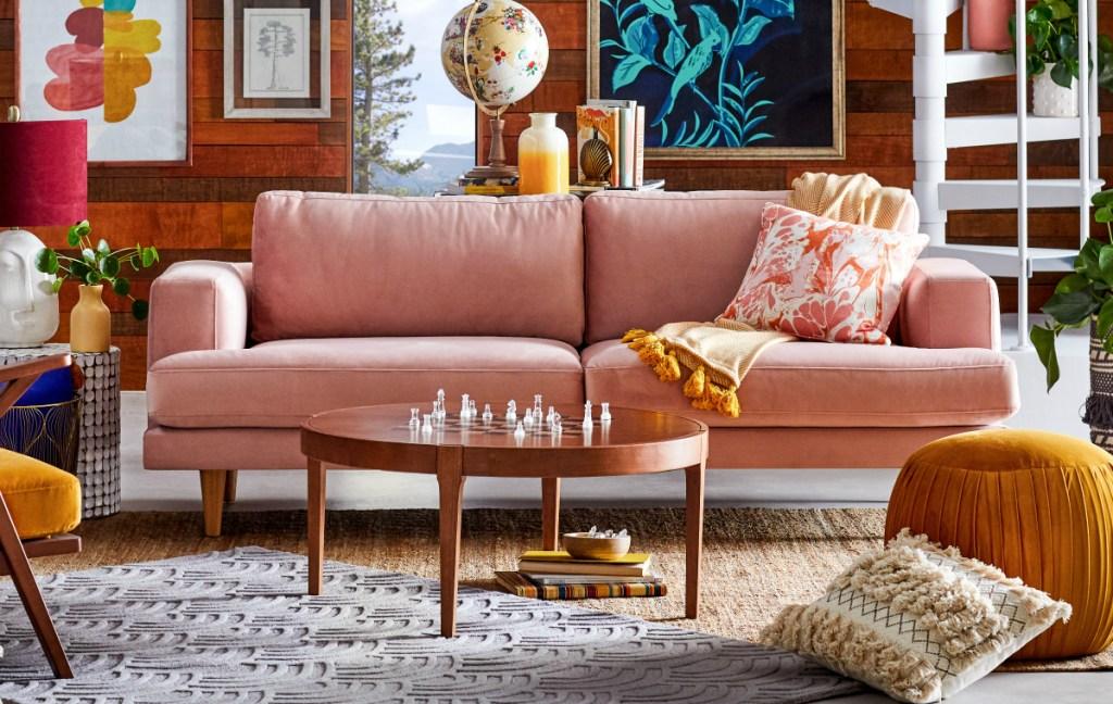 Drew Barrymore Velvet Track Arm Sofa