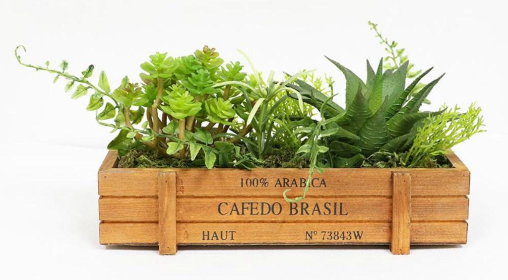 Artificial Succulent Garden in Wood Planter