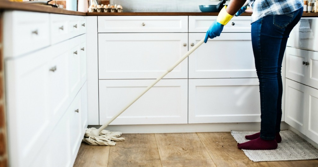 cleaning hardwood floors in kitchen