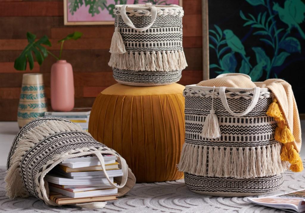 Drew Barrymore Hand Woven Macrame 3-Piece Basket Set