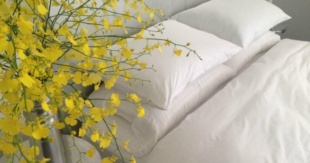 white duvet cover bed made