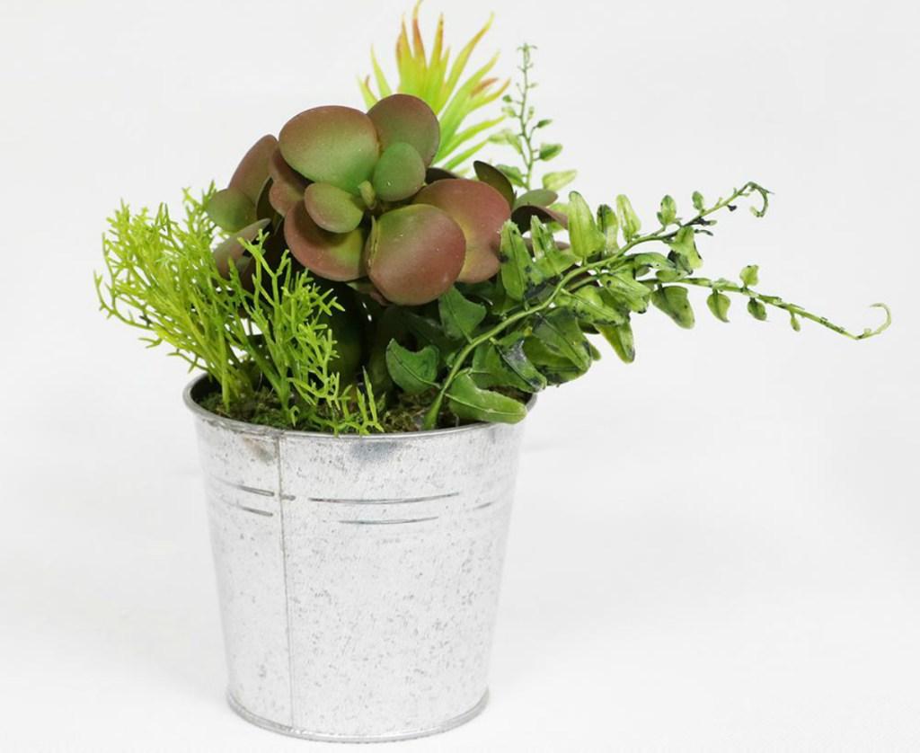 Indoor Artificial Succulents in Metal Pot