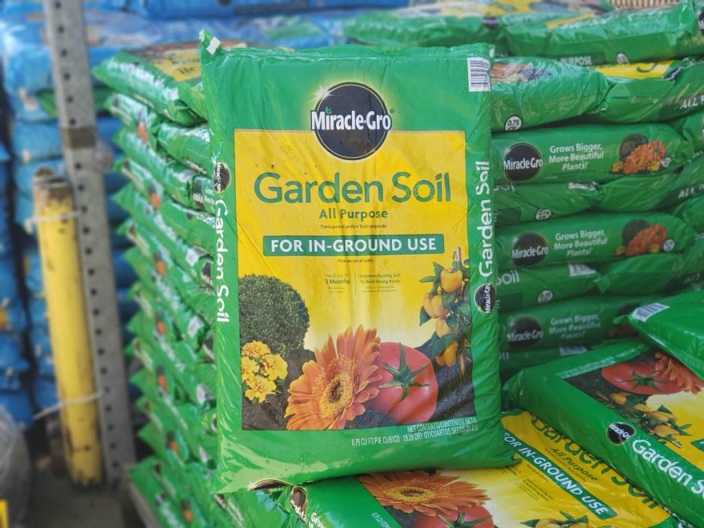 MiracleGro garden soil at Lowe's