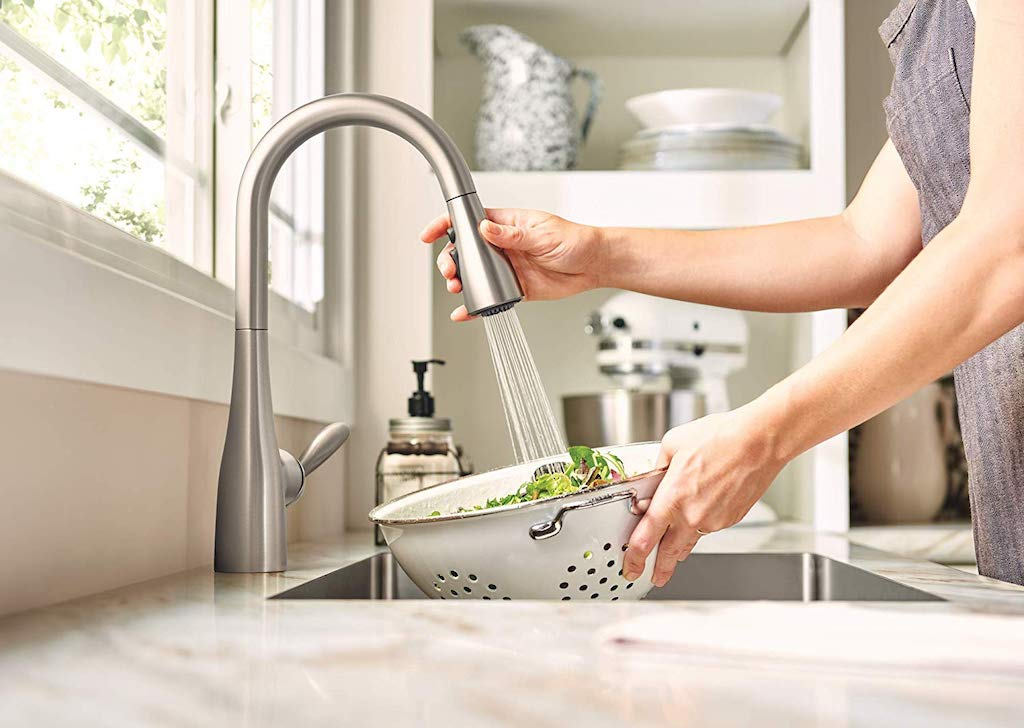 Moen Arbor Kitchen Faucet washing salad