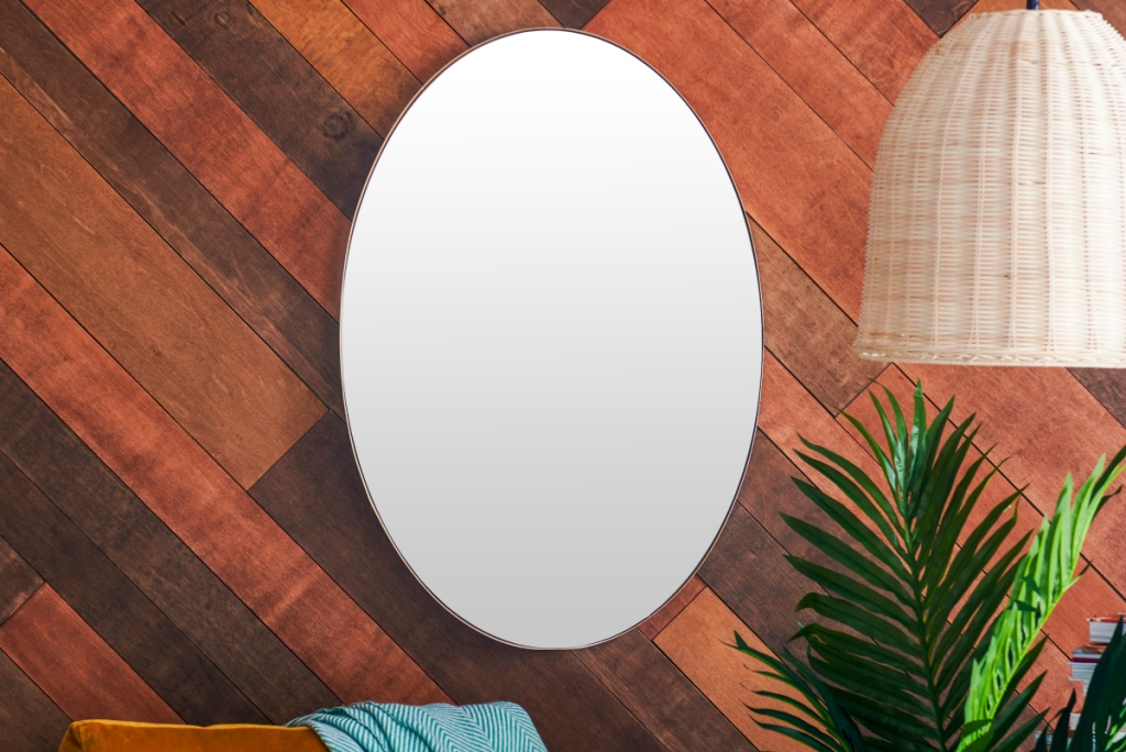 Oval Metal Wall Mirror