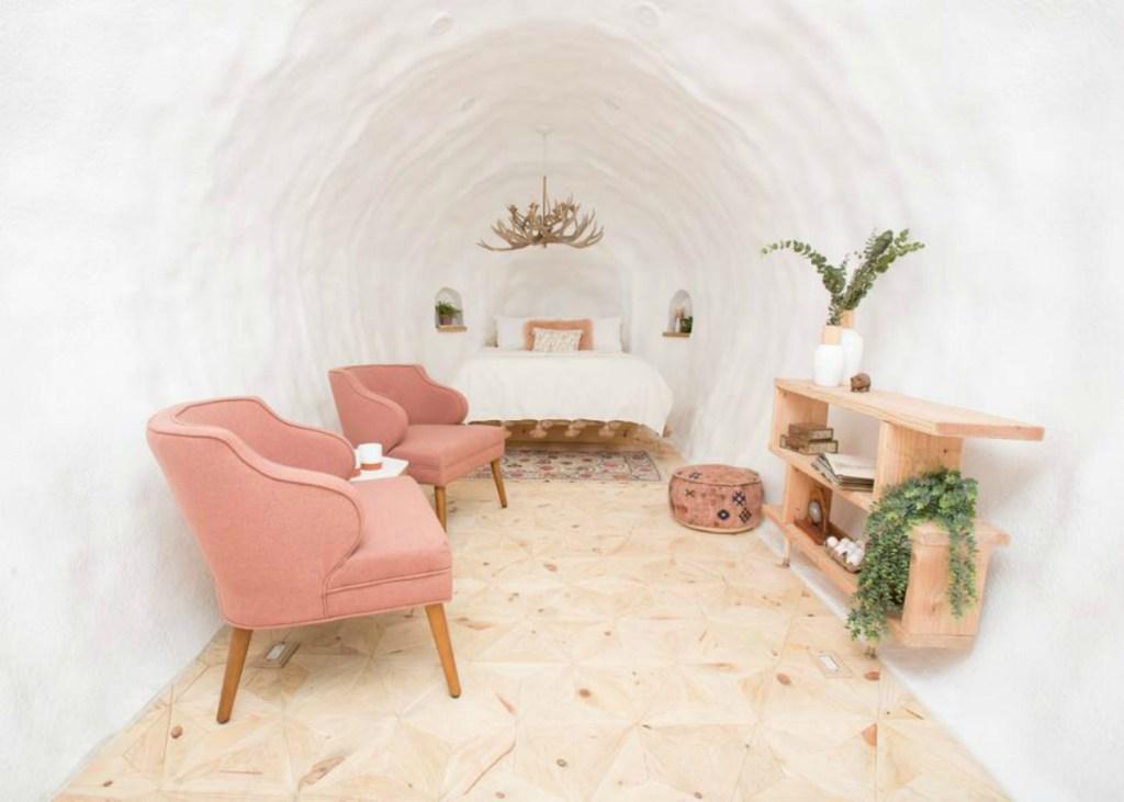 Potato bedroom interior is light and bright