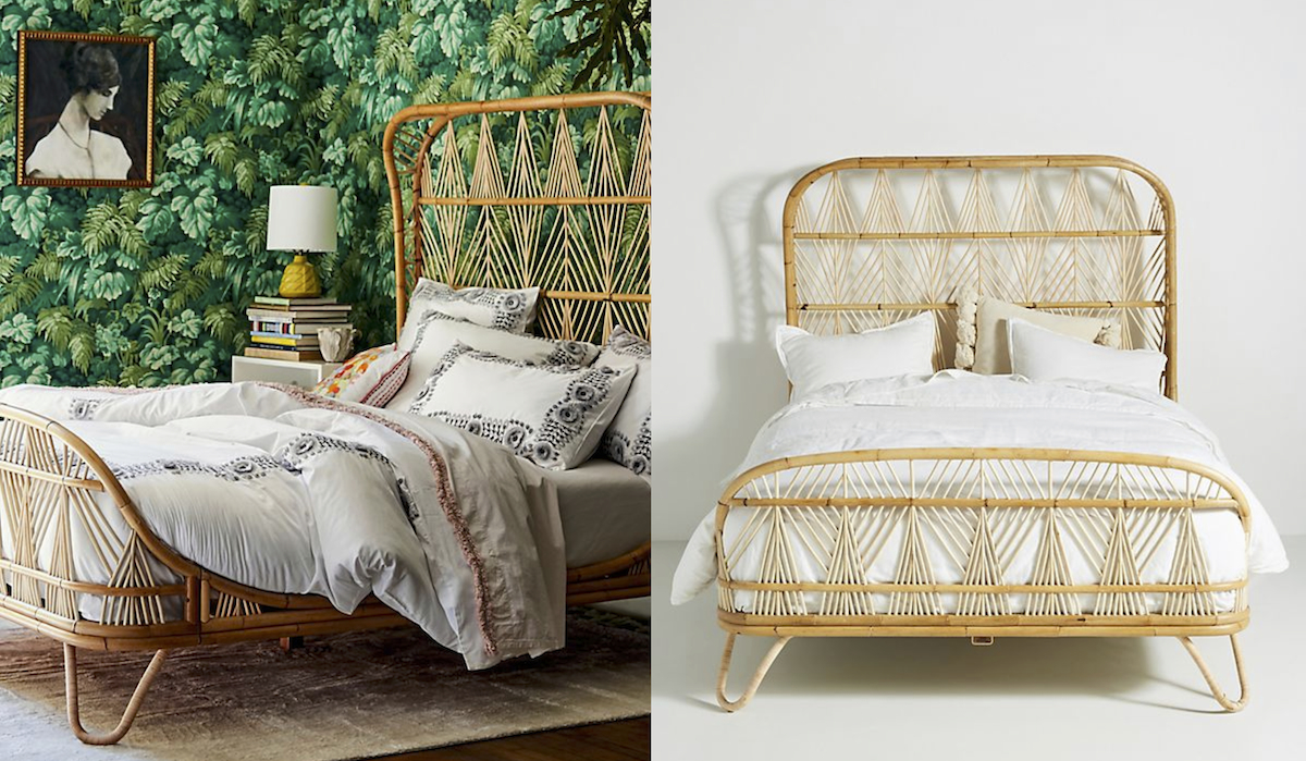 anthropologie rattan bed in a jungle theme room next to same bed in white room