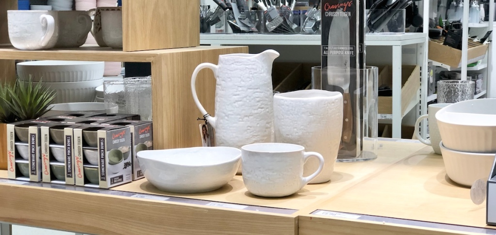 white serving dishes on a store shelf
