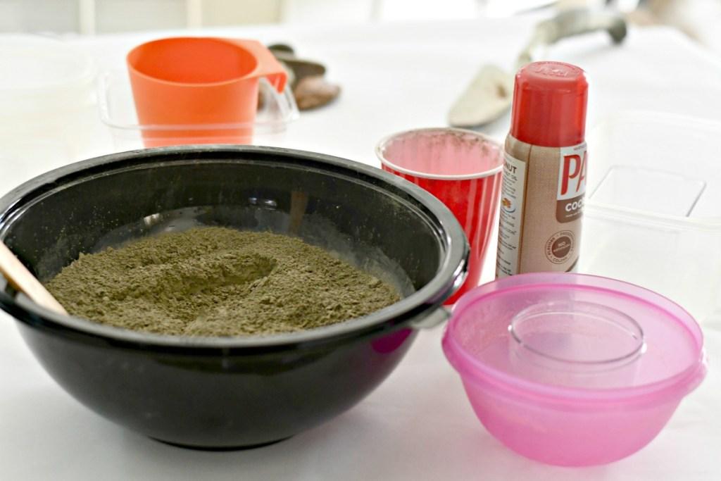 DIY concrete planter supplies on the counter
