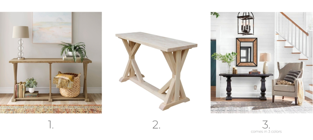 three wood console tables in foyers with various home decor