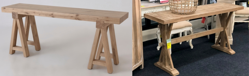 farmhouse console tables side by side