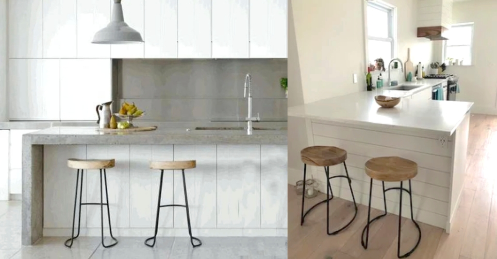 white modern kitchen with wood and iron barstools white pendant light and white countertops