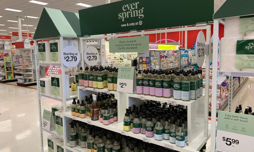everspring collection on shelves in a target store aisle
