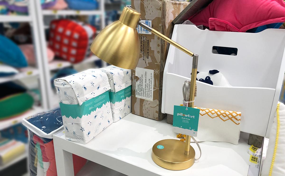 grown up Pillowfort items — gold desk task lamp