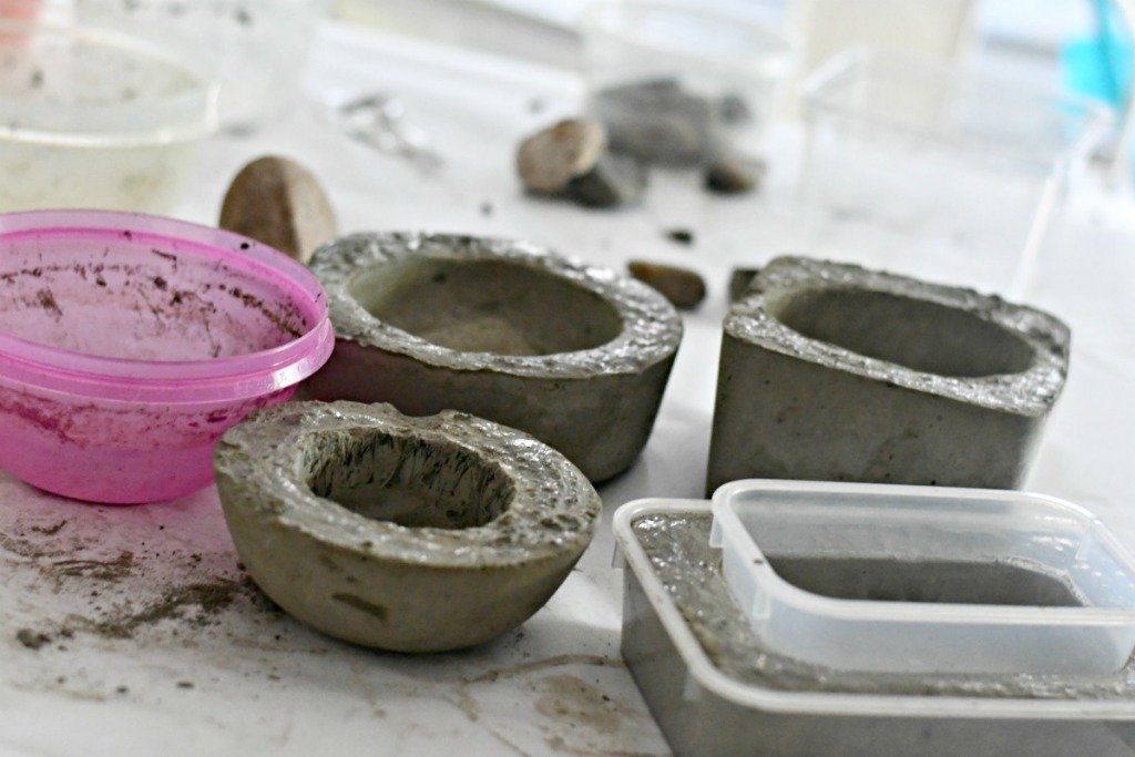 showing the process of making cement planters