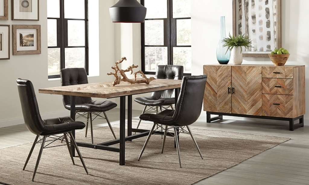 modern industrial dining room set with herringbone table black leather chairs