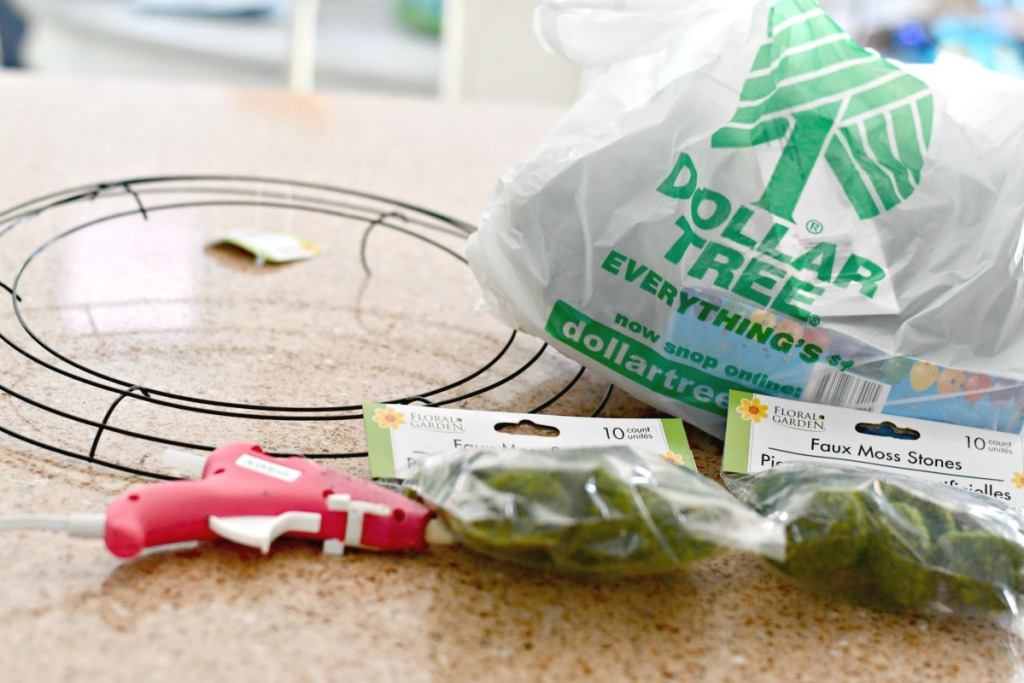 dollar tree supplies for DIY mossy rock wreath