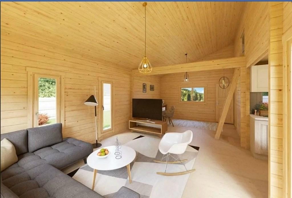 Allwood Avalon Cabin Kit 540 sq. ft. + Loft - inside