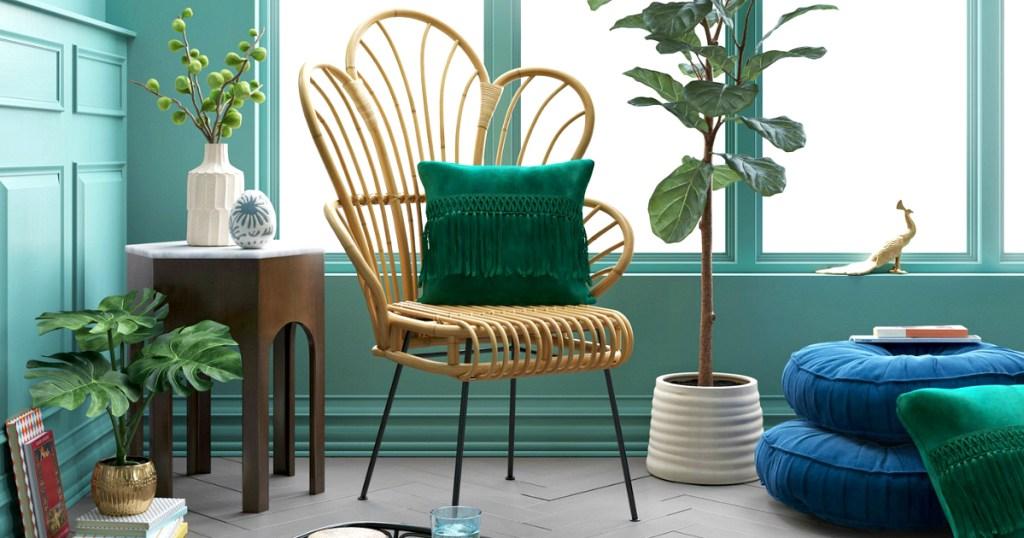 Opalhouse Avocet Rattan Fan Back Accent Chair