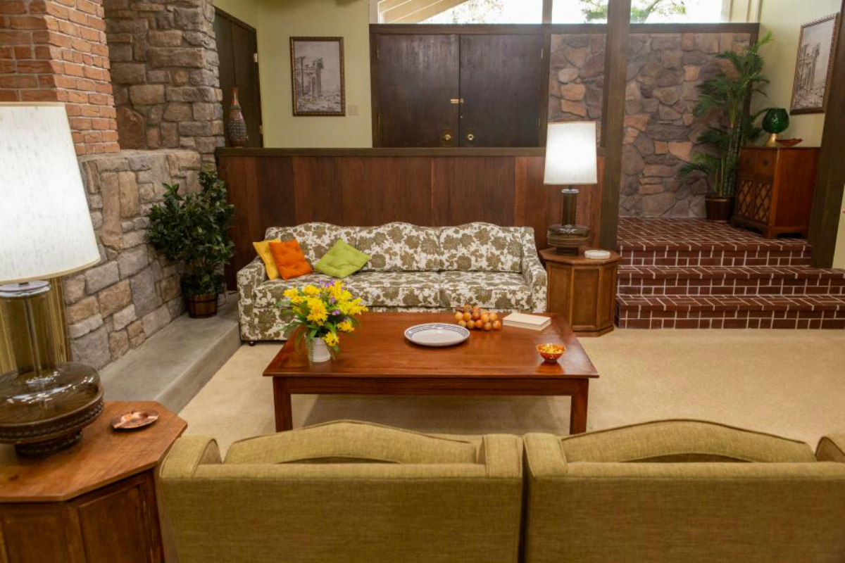Brady Bunch Living Room with couch and coffee table