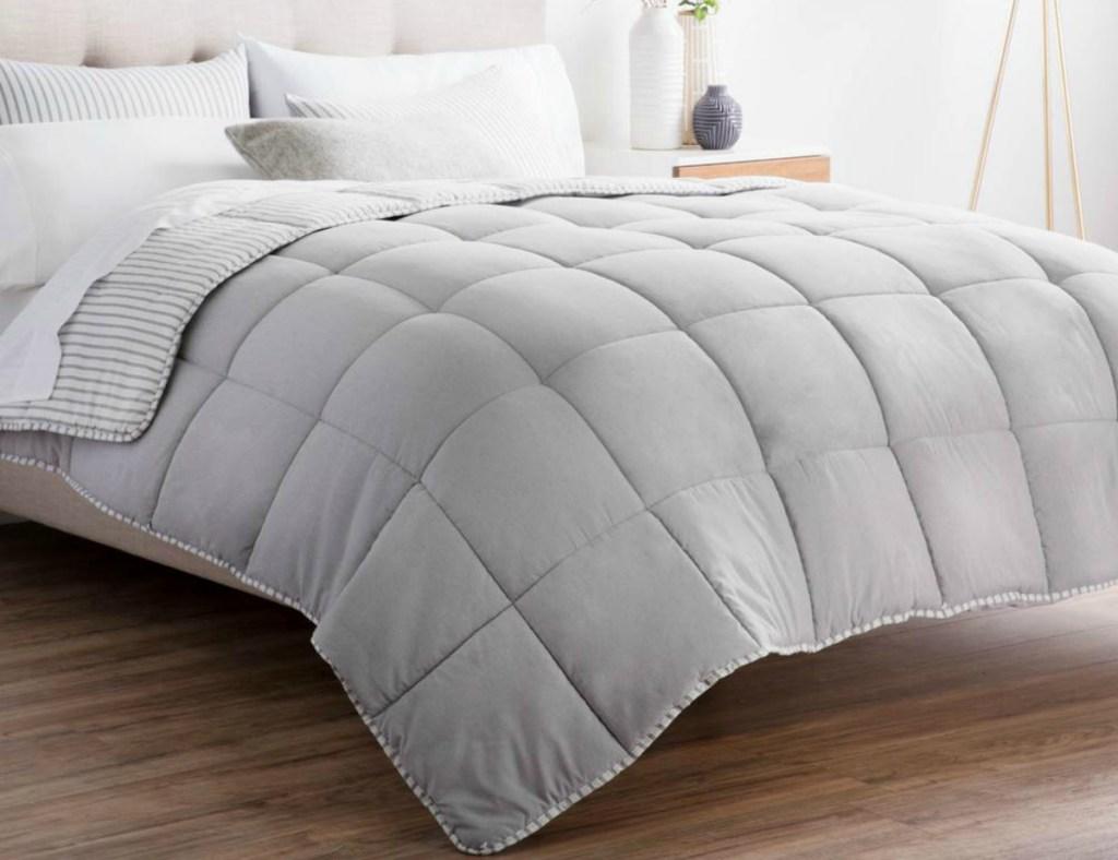 Brookside Striped Reversible Chambray Comforter Set - Coastal Gray