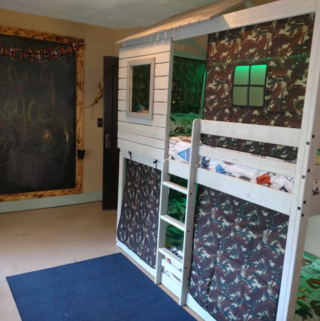 Camo Bunk Bed with Chalk board wall