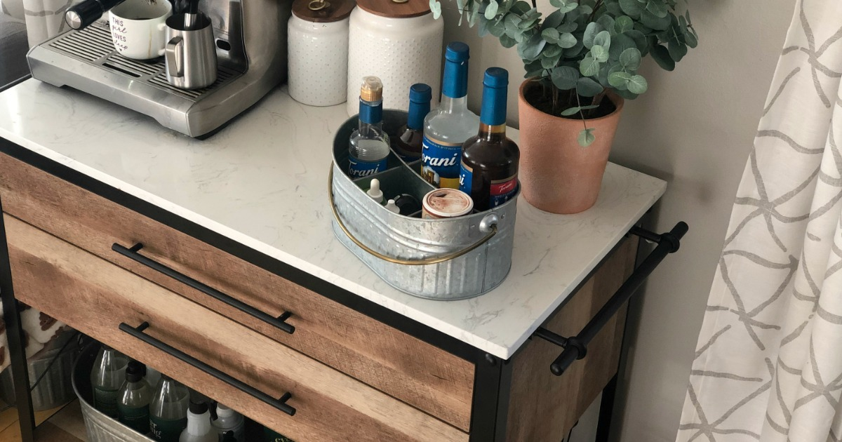 Stone kitchen island with coffee bar