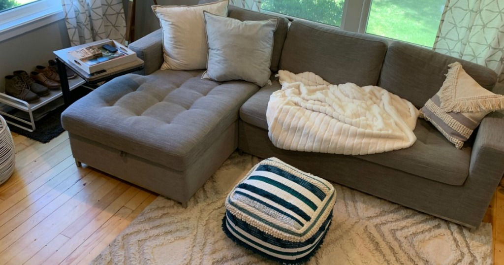 living room with grey sectional couch