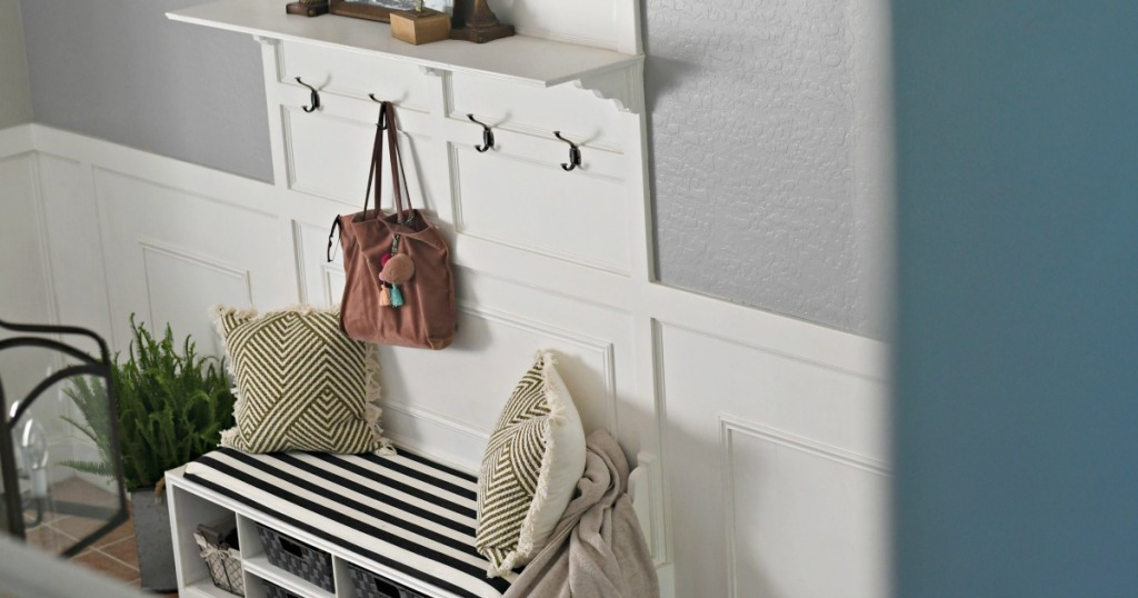 DIY storage bench hall tree in the entryway