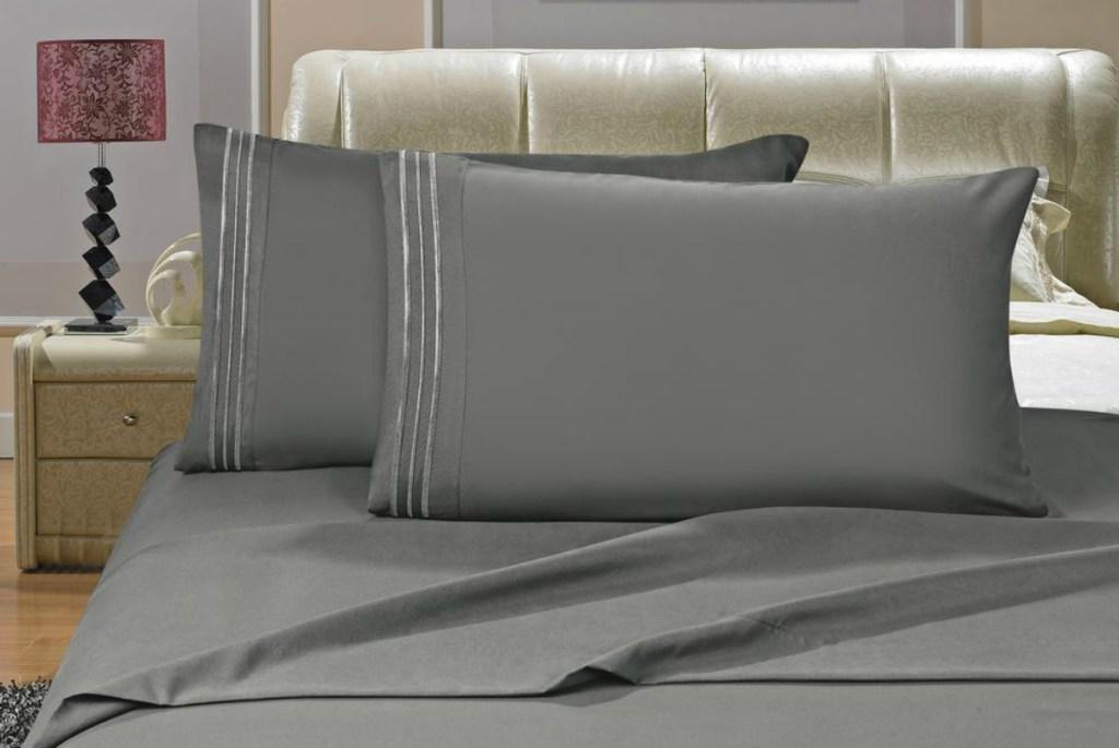 Elegant Comfort 4-Piece Gray Microfiber Bed Sheet Set - Gray