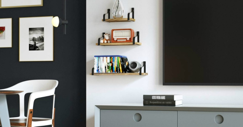 floating shelves displaying items in living room