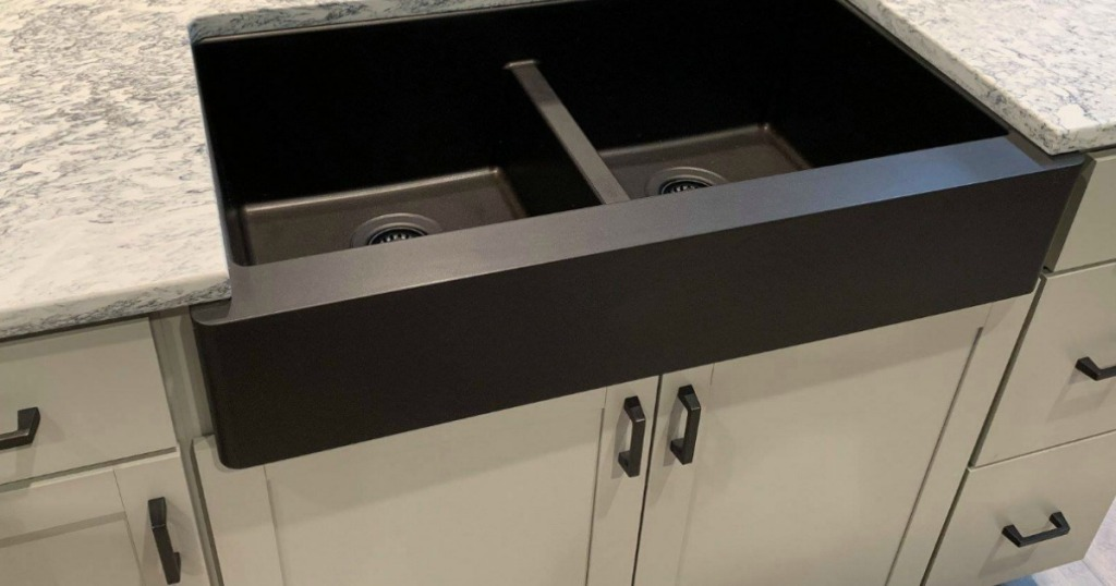 Karran Quartz Double Basin Farmhouse Kitchen Sink