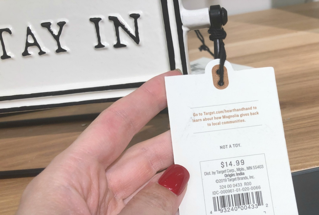 Let's stay in sign price tag