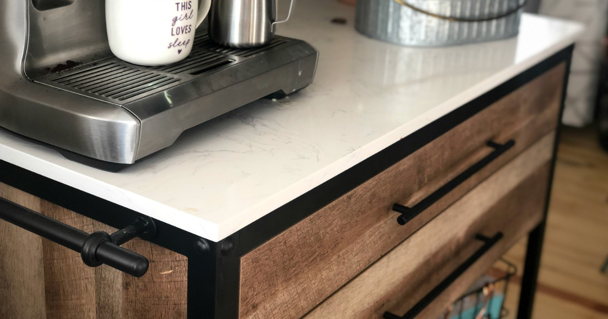 close up of kitchen island with espresso maker