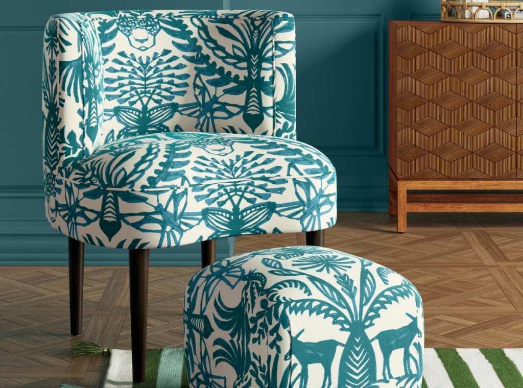 Opalhouse Clary Curved Back Teal Animal Print Accent Chair