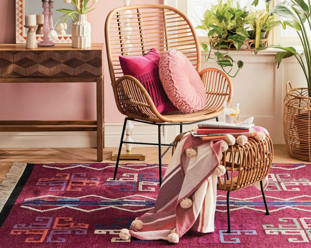 Opalhouse Lily Rattan Arm Chair with Metal Legs